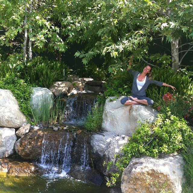 Just casually exercising next to a waterfall... no big deal.