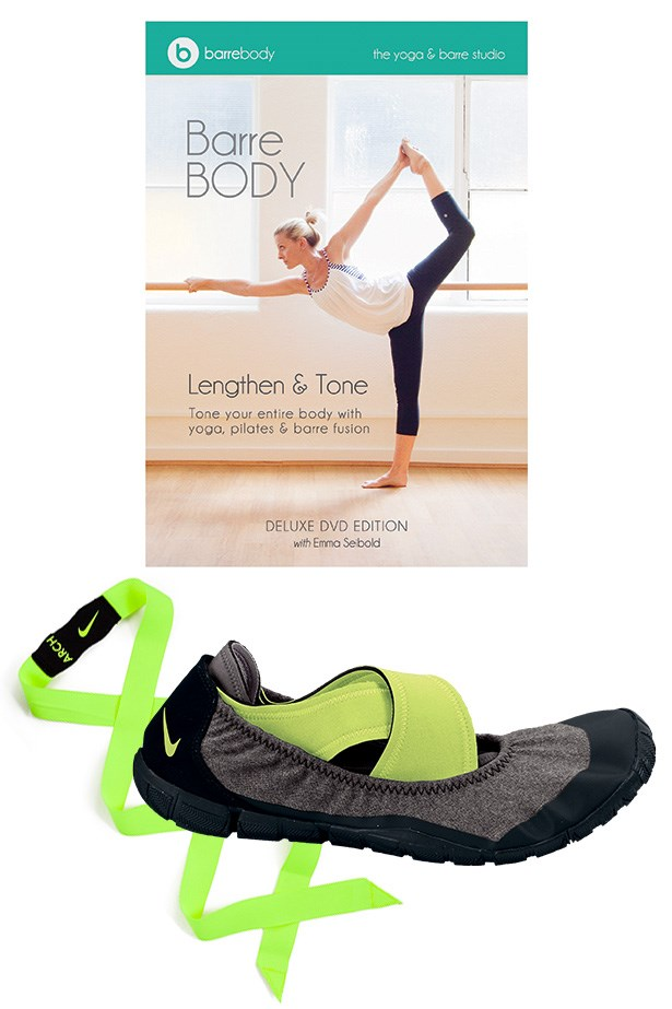 """<p>With a cult following in New York, barre classes are starting to make (well pointed) waves in Australia. Get on pointe in a pair of Nike foot wraps, essential for a no slip grip. Out of the studio, get moving with creator of Barre Body, Emma Seibold on DVD. Studio Wrap, $150, Nike, <a href=""""http://nike.com.au"""">nike.com.au</a> Barre Body Lengthen & Tone DVD, $25, Barre Body, <a href=""""http://barrebody.com.au """">barrebody.com.au </a>"""