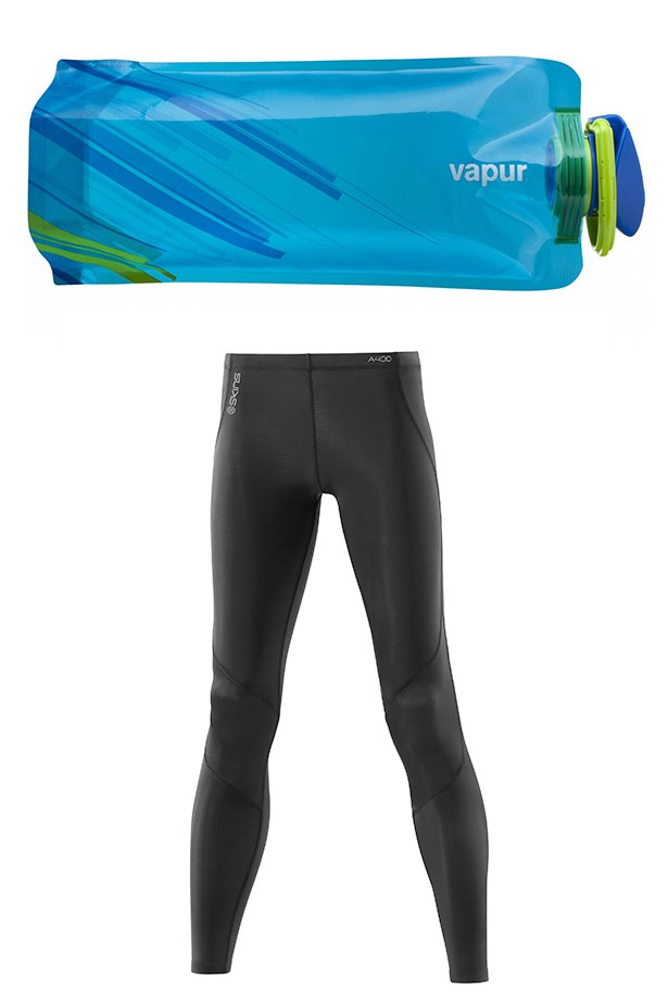 """<p>Be a track star with gear that means business. Skins not only turn you into a vision of aerodynamic athleticism, but also improve recovery with better blood flow and muscle support.  Rehydrate with the lightweight foldable, Vapur bottle – perfect to fold into a work bag. A400 Women's Compression Long Tights, $169.99, Skins, <a href=""""http://skins.net"""">skins.net</a> Element 0.7L bottle in blue, $23.95, Vapur, <a href=""""http://drinkvapur.com.au"""">drinkvapur.com.au</a>"""
