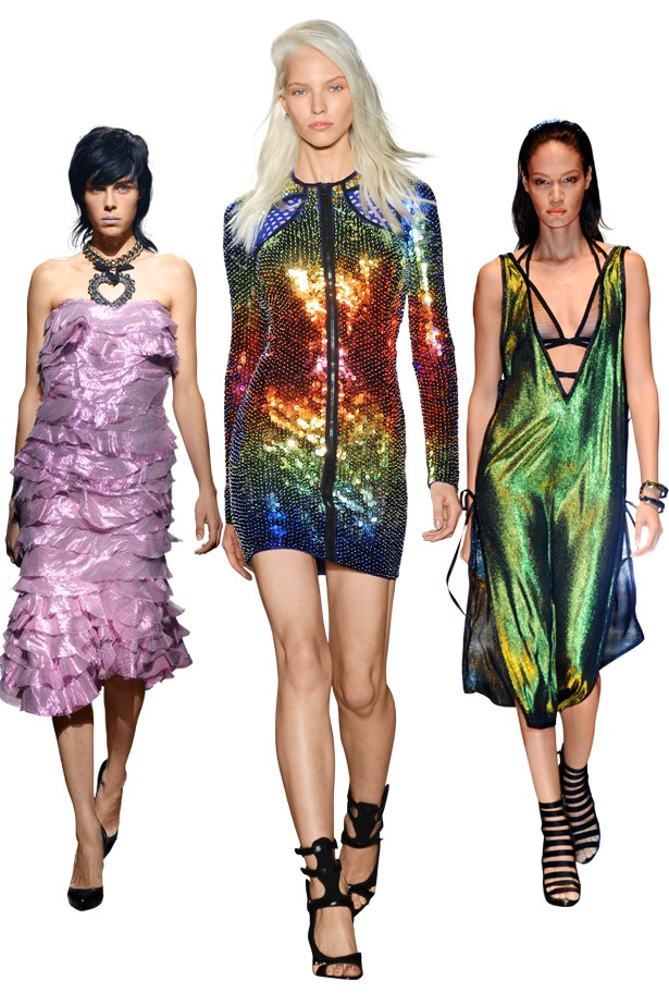 Looks from left to right: Lanvin SS14, Emilio Pucci SS14, Gucci SS14