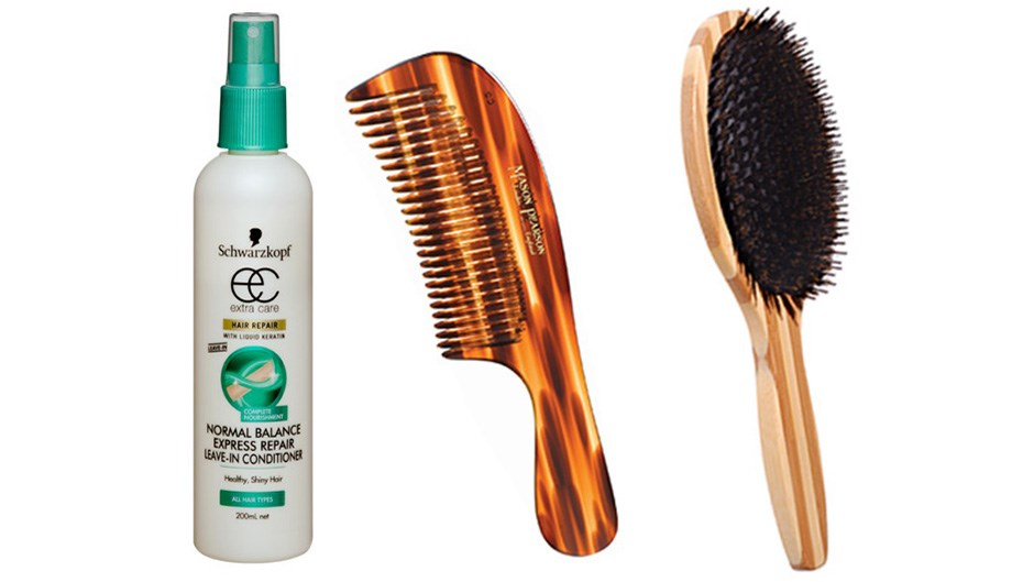 """<p><strong> Bullish brushing. </strong> Breakage occurs while brushing, but it is more likely to happen when hair is wet, because that's when hair becomes more elastic, says Schwarzkopf's National Technical Educator, Grant Withnell. His oldie-but-goodie trick of using a wide-tooth comb and a spritz of leave-in conditioner straight out of the shower helps to prevent unnecessary damage. Using a natural bristle (as opposed to a nylon) brush on dry hair will cause less breakage too – they help to better distribute oils from the scalp (plus any you might spray in) evenly from roots to ends.  Bumpy, open hair cuticles (caused by dehydration or friction) are the reason behind knotty hair. Withnell's trick? Use an oil mist spray to smoothen cuticles, making short work of a birds-nest situation. Normal Balance Express Repair Leave-In Conditioner, $6.29, Schwarzkopf, 1800 022 219 Comb Detangling, $29.95, Mason Pearson, 03 8587 4650. Be Natural Oval Cushion Brush, $19.95, Brushworx, <a href=""""http://datelinecity.com"""">datelinecity.com</a>"""