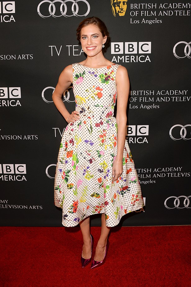 <p><strong>Most promising newcomer</strong></p> <p><strong>Allison Williams</strong></p> <i>Image: Wearing Oscar de la Renta at the BAFTA Tea Party.</i>