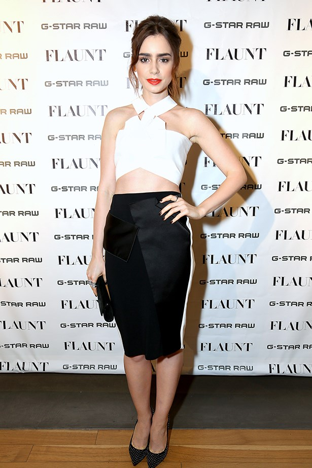 <p><strong>Most elegant display of midriff</strong></p> <p><strong>Lily Collins</strong></p> <i>Image: Wearing Roland Mouret at a Flaunt Magazine and G-Star Raw party.</i>