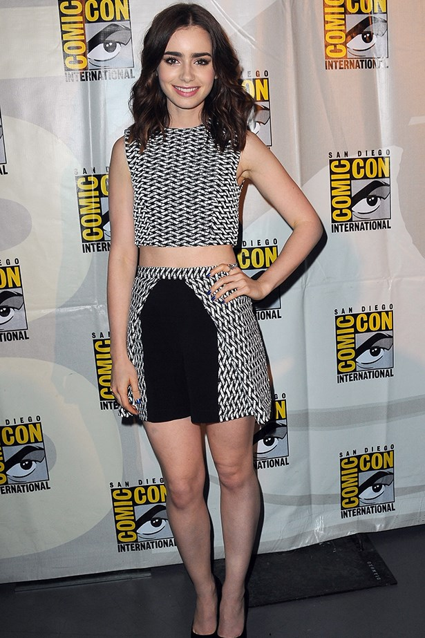 <p><strong>Most elegant display of midriff</strong></p> <p><strong>Lily Collins</strong></p> <i>Image: Wearing Paper London at Comic Con.</i>