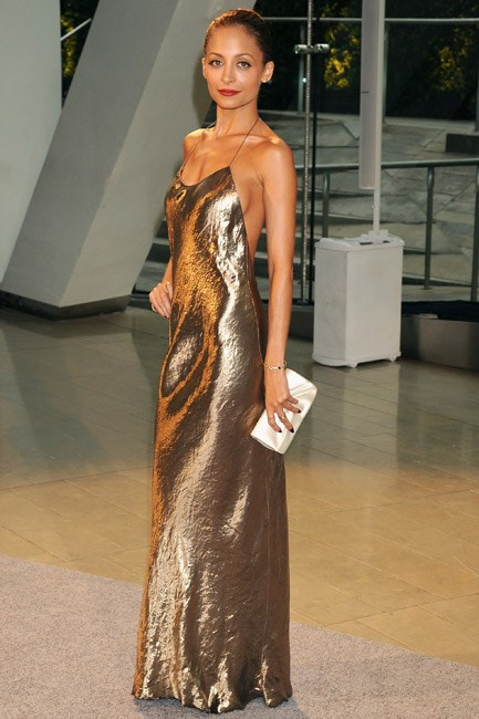 A halter-neck style is a modern take on this trend. Nicole Richie smouldered in Louis Vuitton at the Council of Fashion Designers of America Awards.