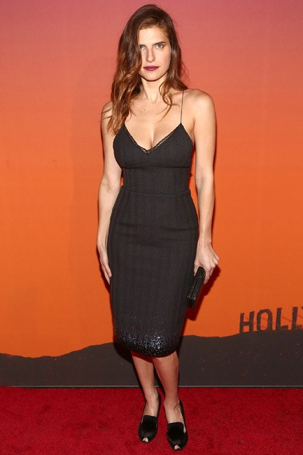 Lake Belle chose to team flat shoes with her sparkling little black dress at a party in New York City.