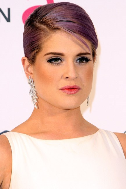 Hair chameleon Kelly Osbourne experimented with the Radiant Orchid colour on her hair – pictured at the 21st Annual Elton John AIDS Foundation Academy Awards Viewing Party.
