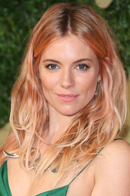 <strong>AFTER: Sienna Miller<br> Colour code:</strong> Sienna Miller dyed her signature blonde bombshell locks an ethereal shade of rose-gold and, subsequently, turned many heads.