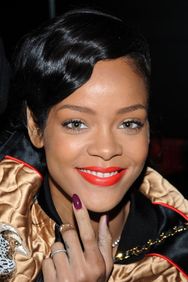 At the Unapologetic album pre-release party in 2012, Rihanna worked a gentle finger-wave through her fringe, paired with burnt orange lipstick.
