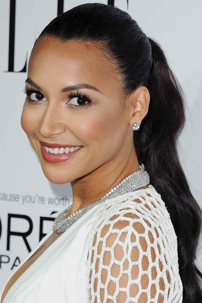 At the 2013 ELLE Women in Hollywood event, Naya Rivera's polished ponytail shows off her voluminous lashes and glowing skin.