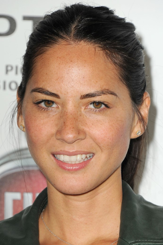 Olivia Munn's casually scraped-back with loose strands is low-key chic.