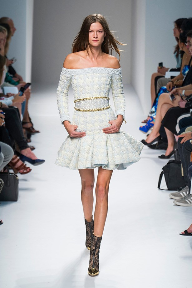 The flippy skater skirt<br> This one's for those who like to have a little fun with their fashion. Flaring out from the waist and finishing well above the knee, the skater skirt brings a sense of play to dressing up.<br> Look to: Balmain<br>