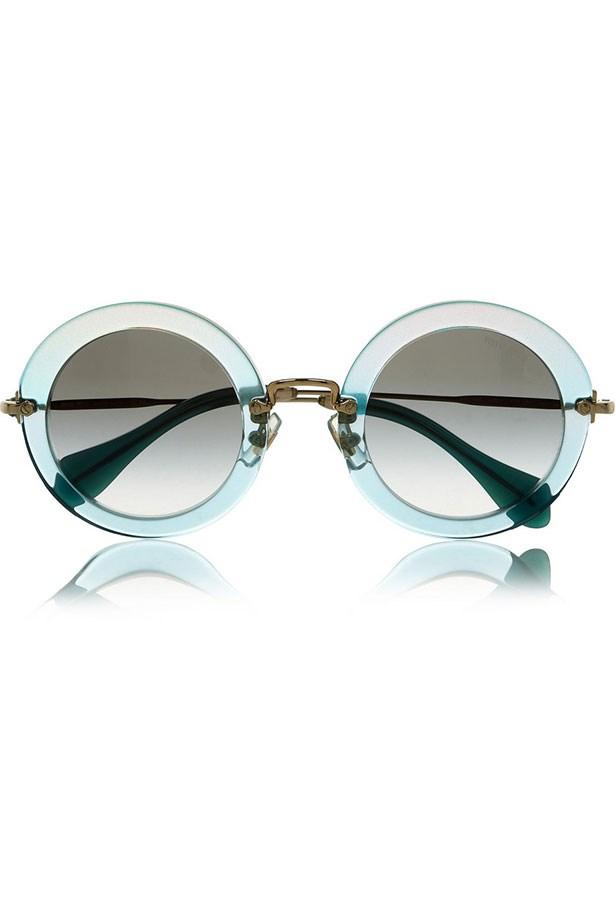 """Sunglasses, $460, Miu Miu, <a href=""""http://www.sunglasshut.com/au"""">sunglasshut.com/au</a>"""