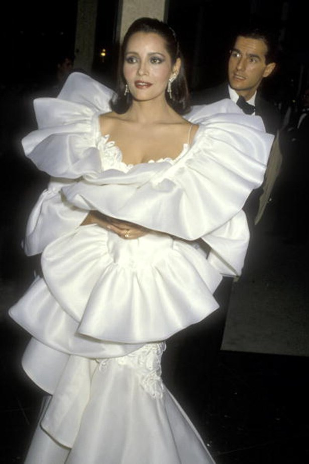 <strong>Barbara Carrera, 1986</strong><br> Bond girl Carrera ruffled a few feathers in this OTT frock at the 1986 awards.