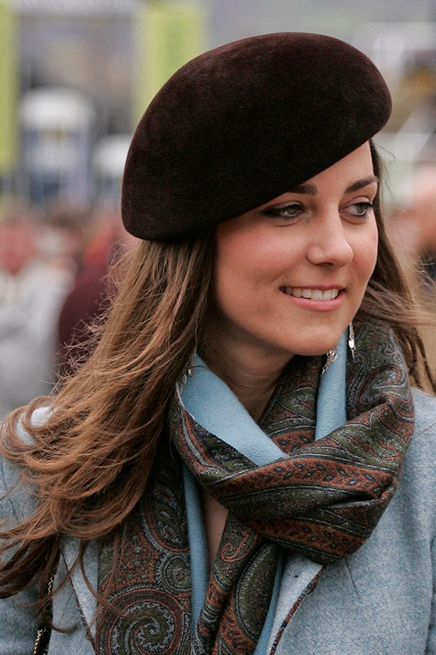 HRH Kate's brunette locks were becoming her trademark, topped with a beret at the Cheltenham Horse Racing Festival in 2007.