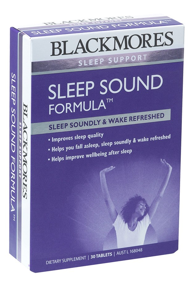 """Burning the wick at both ends can impact sleep patterns. Early nights, and meditation are the simple fix – but if your inner insomniac keeps you tossing and turning, try taking valerian and magnesium supplements. Valerian is a mild sedative that supports restful sleep, and magnesium (which some people are deficient in) will help with restlessness and muscle cramps. Blackmores Sleep Sound Formula ($29.95, <a href=""""http://blackmores.com.au"""">blackmores.com.au</a>) contains both – two birds, one stone.  <a href=""""null""""></a>"""