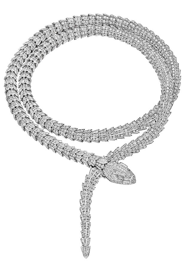 <p>225.85 carats circling the neck? Slither on over. </p> <p>Serpenti necklace, POA, Bulgari High Jewellery, (02) 9233 3611</p>