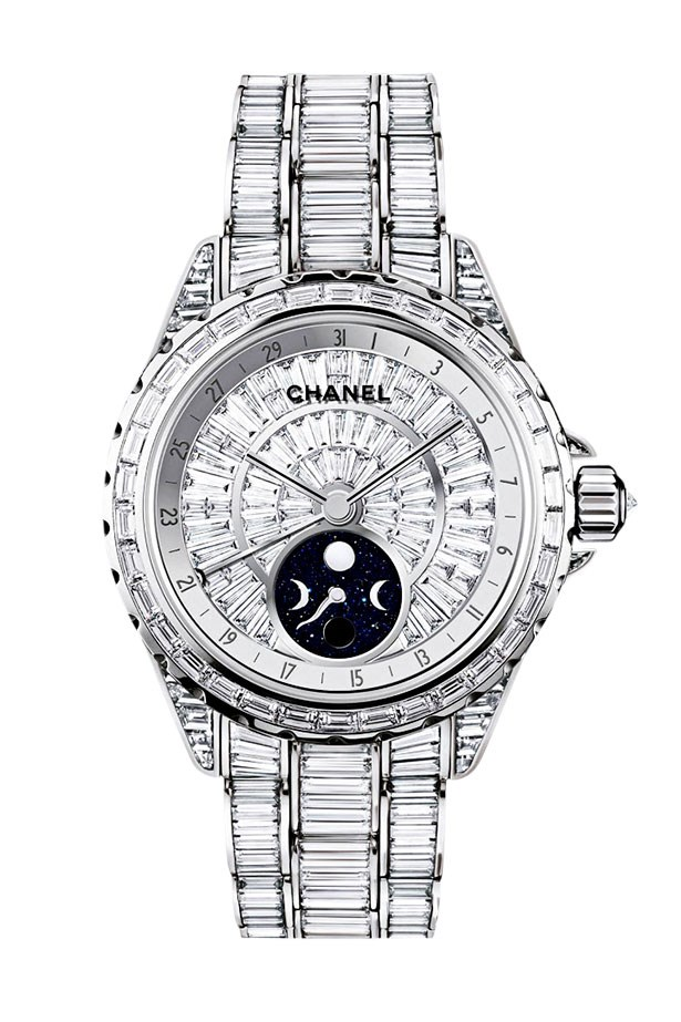 <p>For the feline with everything-  the baguette-encrusted timepiece. With only five in the world, surely one should go to Kaiser Karl's pampered puss Choupette.</p> <p>J12 Moonphase watch, POA, Chanel, 1300 242 635</p>