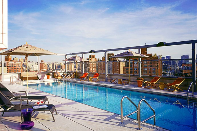 """<p><strong>GANSEVOORT MEATPACKING, NEW YORK</strong></p> <p>Soak up amazing views of the Hudson River and surrounding skyline as you float alongside musicians and artists in the rooftop pool, which hosts endless parties in the warmer months. </p> <p>How to get in: fork out around $310 for a day pass to the hotel spa, which includes pool access. </p> <p><a href=""""http://www.gansevoorthotelgroup.com/"""">gansevoorthotelgroup.com</a></p>"""