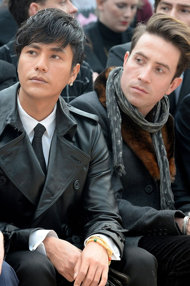 Chen Kun and Nick Grimshaw at the Burberry Prorsum Menswear AW14 show