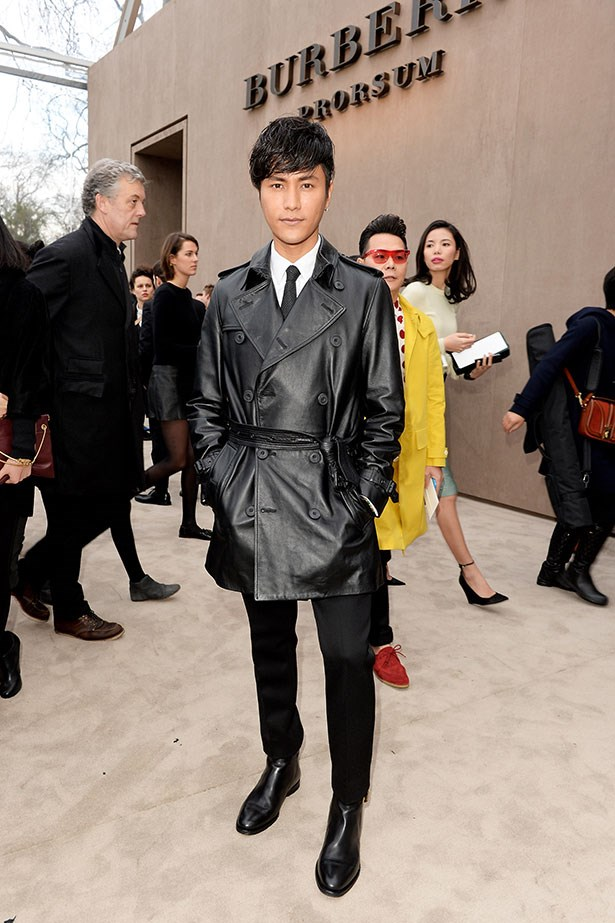 Chen Kun wearing Burberry to the Burberry Prorsum Menswear AW14 show