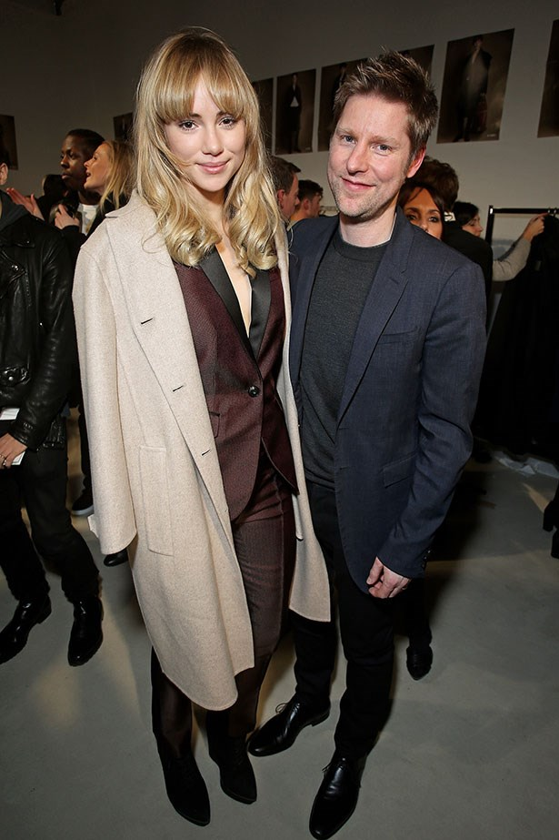 Christopher Bailey and Suki Waterhouse backstage at the Burberry Prorsum Menswear AW14 show