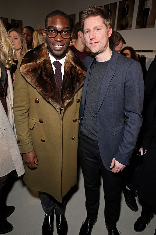 Christopher Bailey and Tinie Tempah backstage at the Burberry Prorsum Menswear AW14 show