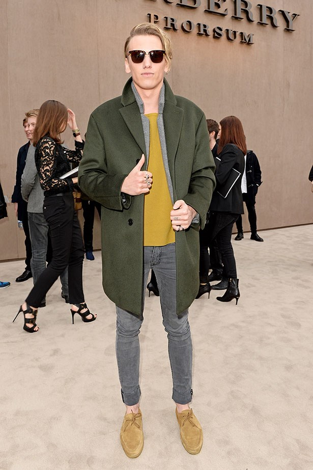 Jamie Campbell Bower wearing Burberry