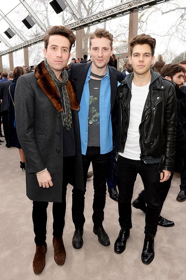 Nick Grimshaw, George Barnett and James Righton at the Burberry Prorsum Menswear AW14 show