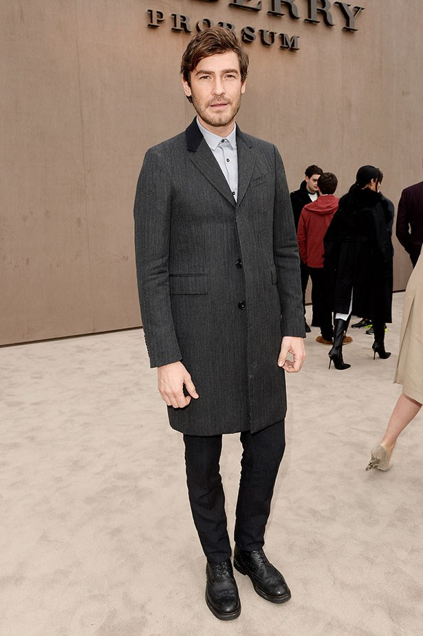Robert Konjc wearing Burberry to the Burberry Prorsum Menswear  AW14 runway show