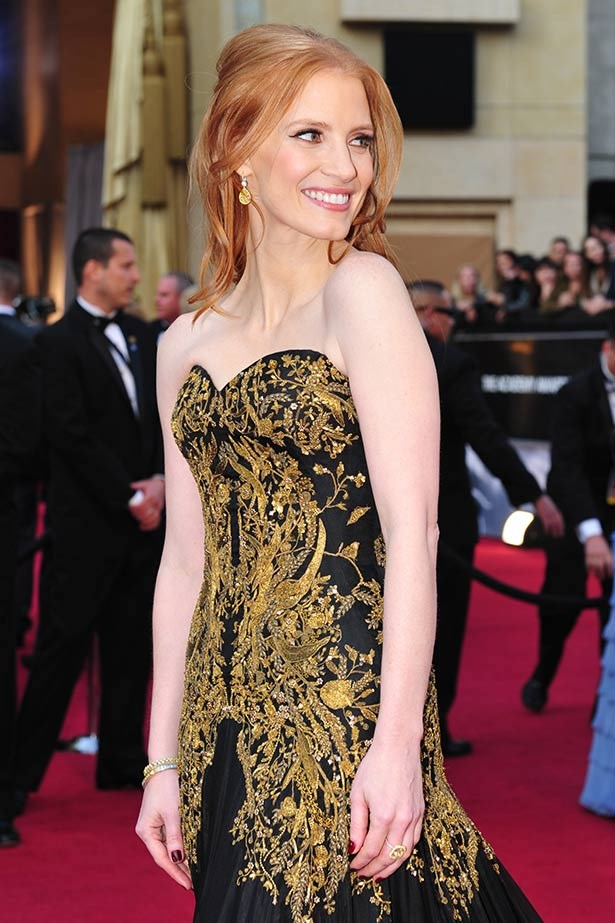 <strong>Jessica Chastain</strong><br> Being nominated for your first Oscar called for a standout outfit, which the <em>Zero Dark Thirty </em>actress nailed by pairing a gold Alexander McQueen gown with $2 million worth of Harry Winston jewels in 2012.