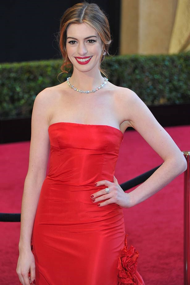 <strong>Anne Hathaway</strong><br> No doubt aware she'd be one of the most photographed stars of the night as the co-host of the award show alongside James Franco, Tiffany & Co. lent Hathaway its 94-carat Lucida Star diamond necklace, worth an eye-watering $10 million, for the Academy Awards in 2011. As a side note, we're still crushing on her red Valentino gown.