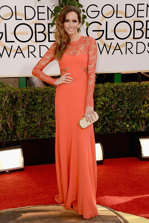 Louise Roe wearing a bright orange Monique Lhuillier lace gown at the 2014 Golden Globes