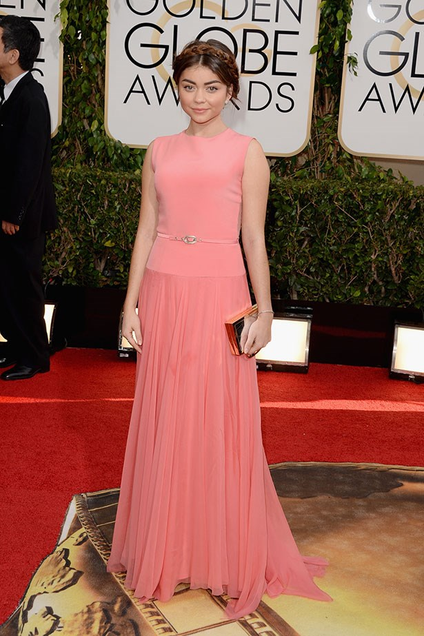 Sarah Hyland wearing a pink Georges Hobeika dress at the 2014 Golden Globes