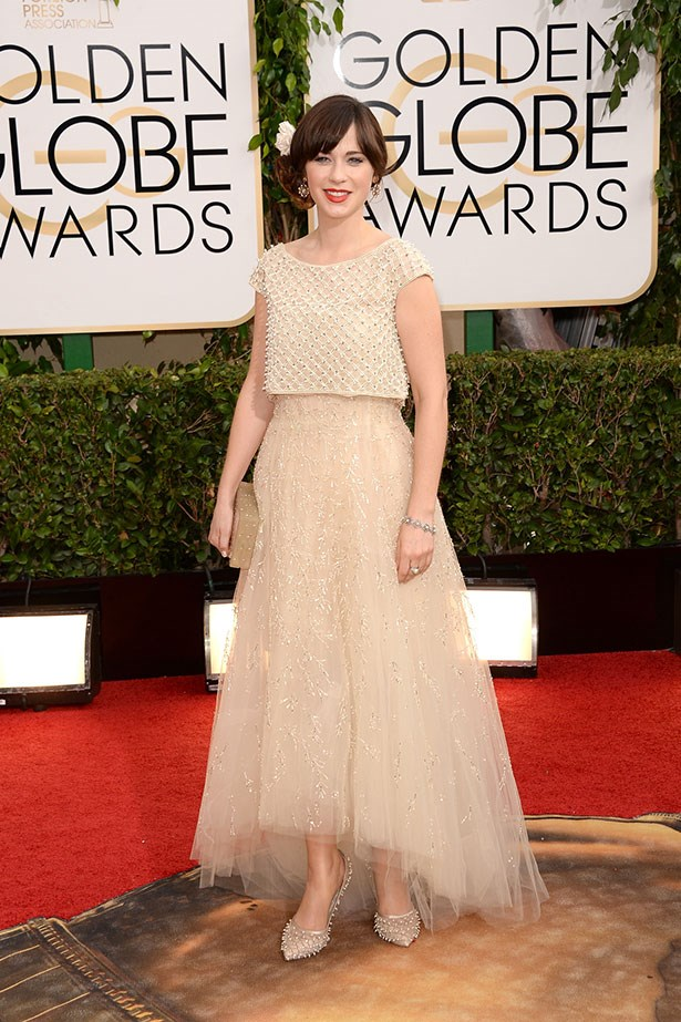 Zooey Deschanel wearing a beaded cream Oscar de la Renta dress at the 2014 Golden Globes