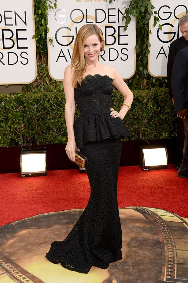 Leslie Mann wearing at black Dolce and Gabbana peplum gown at the 2014 Golden Globes