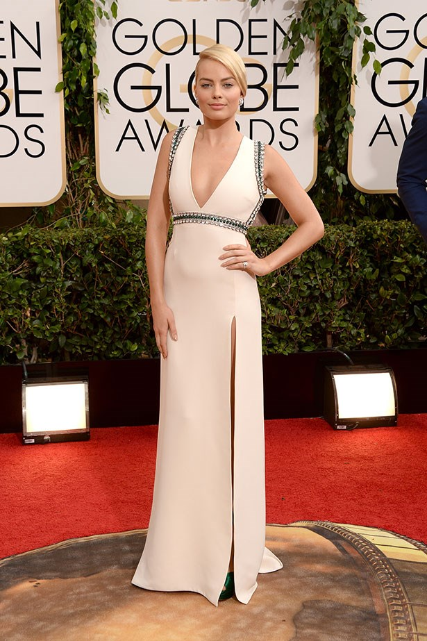 Margot Robbie wearing a custom Gucci gown at the 2014 Golden Globes