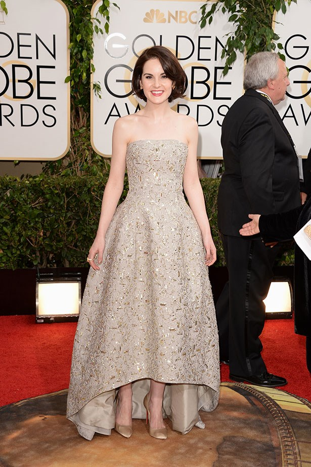 Michelle Dockery wearing Oscar de la Renta at the 2014 Golden Globes