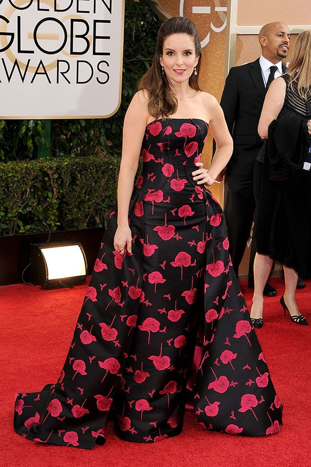 Tina Fey in Carolina Herrera on the red carpet at 2014 Golden Globes