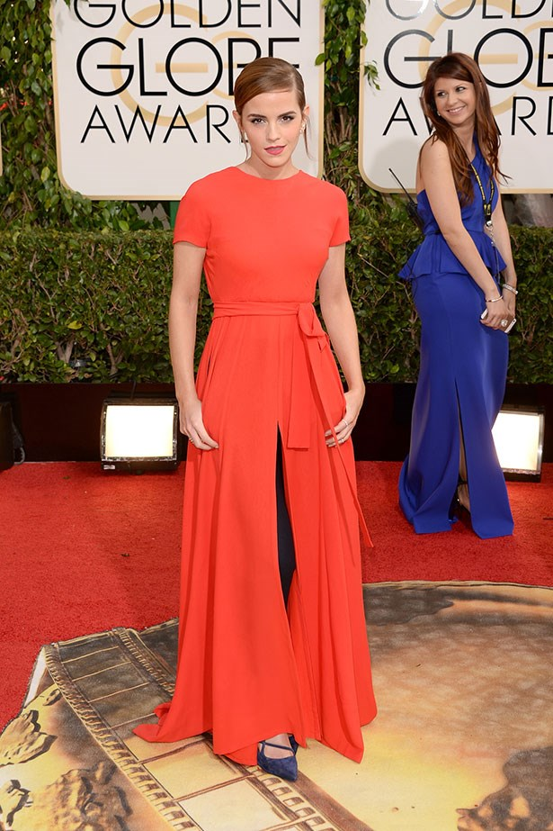 Emma Watson in dress-and-pants Dior at the Golden Globes 2014
