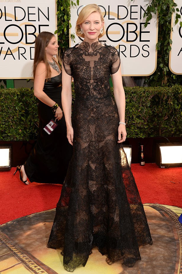 Cate Blanchett in black lace Armani Privé and Chopard jewels at the 2014 Golden Globes