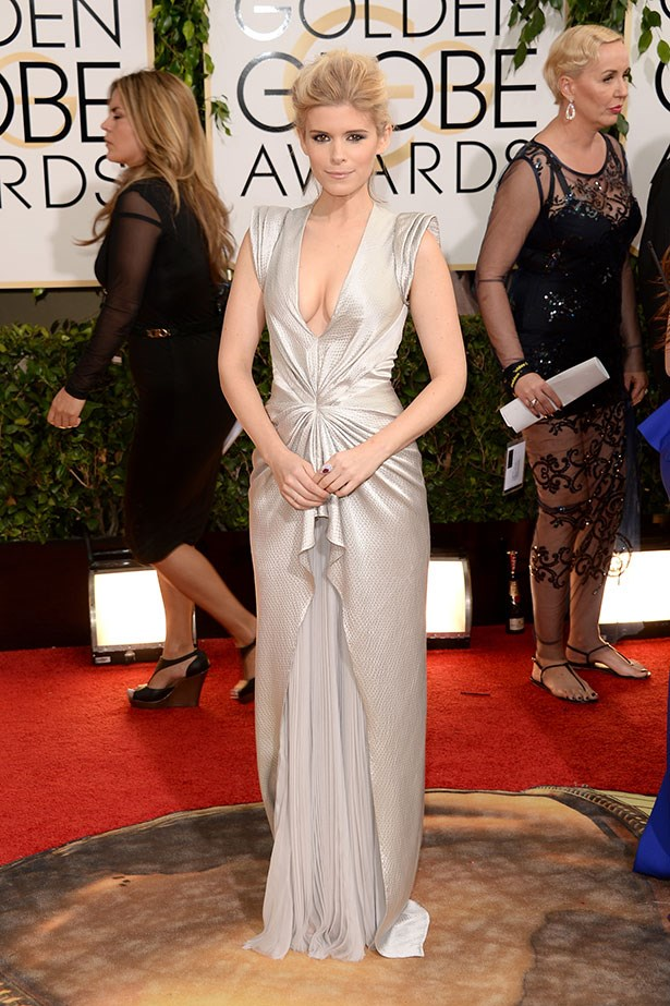 Kate Mara wearing a J. Mendel Pre-Fall 2014 gown at the 2014 Golden Globes