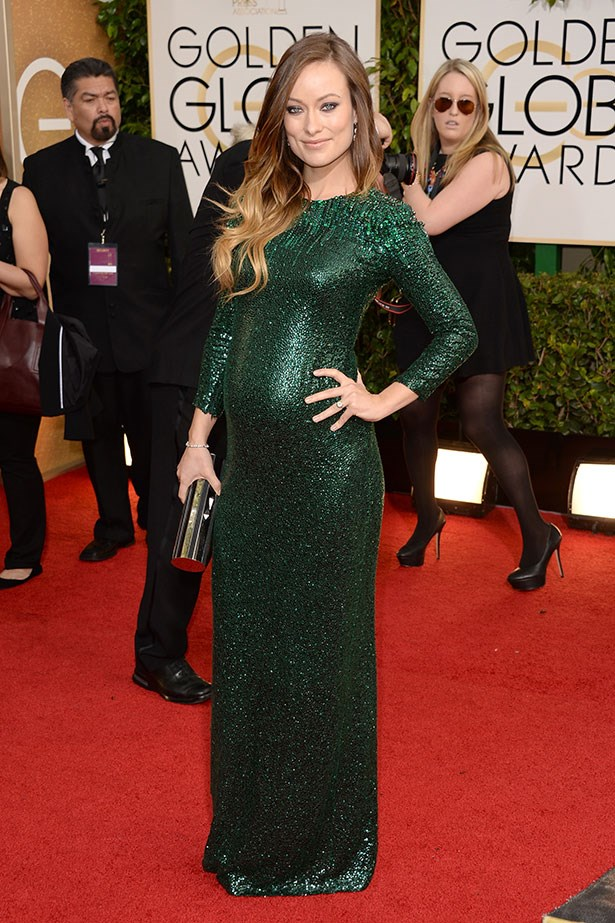 Olivia Wilde wearing an emerald-green, sequinned Gucci gown at the 2014 Golden Globes