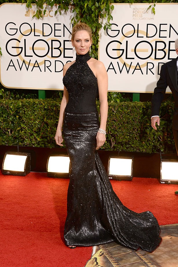 Uma Thurman wearing a custom two-piece halter outfit by Atelier Versace at the 2014 Golden Globes