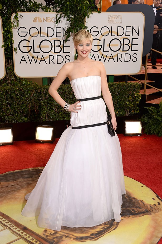 Jennifer Lawrence wearing a strapless white Dior gown at the 2014 Golden Globes