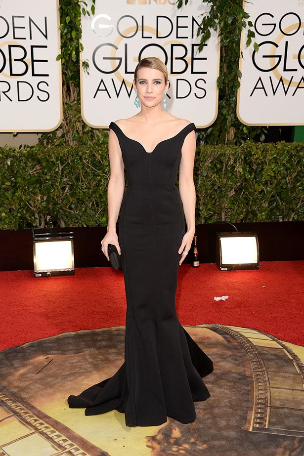 Emma Roberts wears a black Lanvin gown at the 2014 Golden Globes