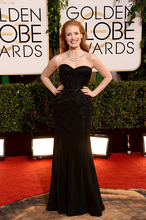 Jessica Chastain wears a black Givenchy gown at the 2014 Golden Globe Awards