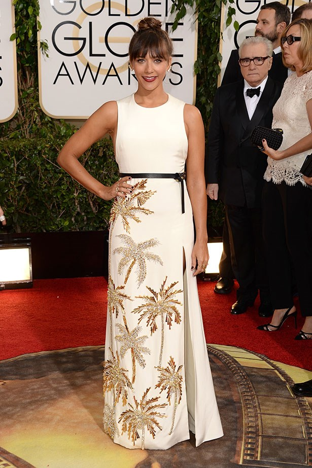 Rashida Jones added a tropical punch to the red carpet wearing a palm  tree embellished gown at the 2014 Golden Globes