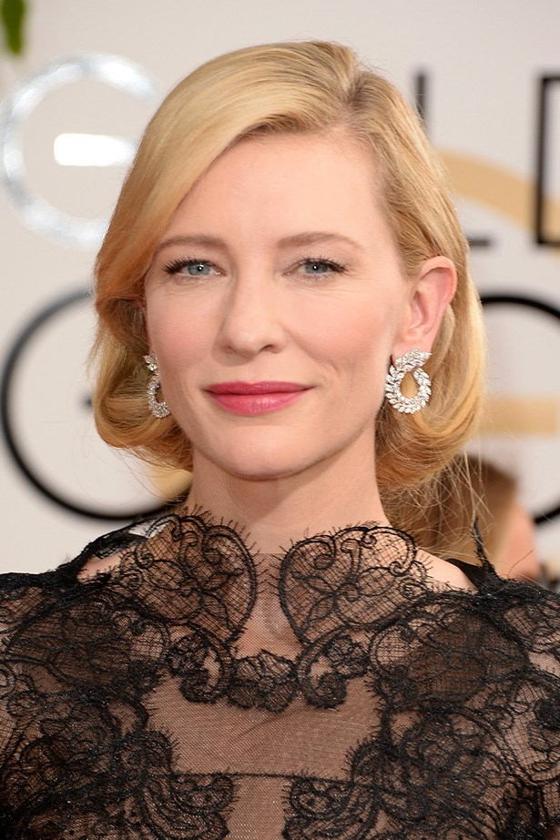 """<strong>SIDE PARTS<BR></strong> Golden Globe nominee, <a href=""""http://www.elle.com.au/news/fashion-news/2014/1/golden-globes-2014-red-carpet/cate-blanchett-in-black-lace-armani-priv%C3%A9-at-the-2014-golden-globes/"""">Cate Blanchett</a> wore her hair in an elegant side-part faux-bob."""