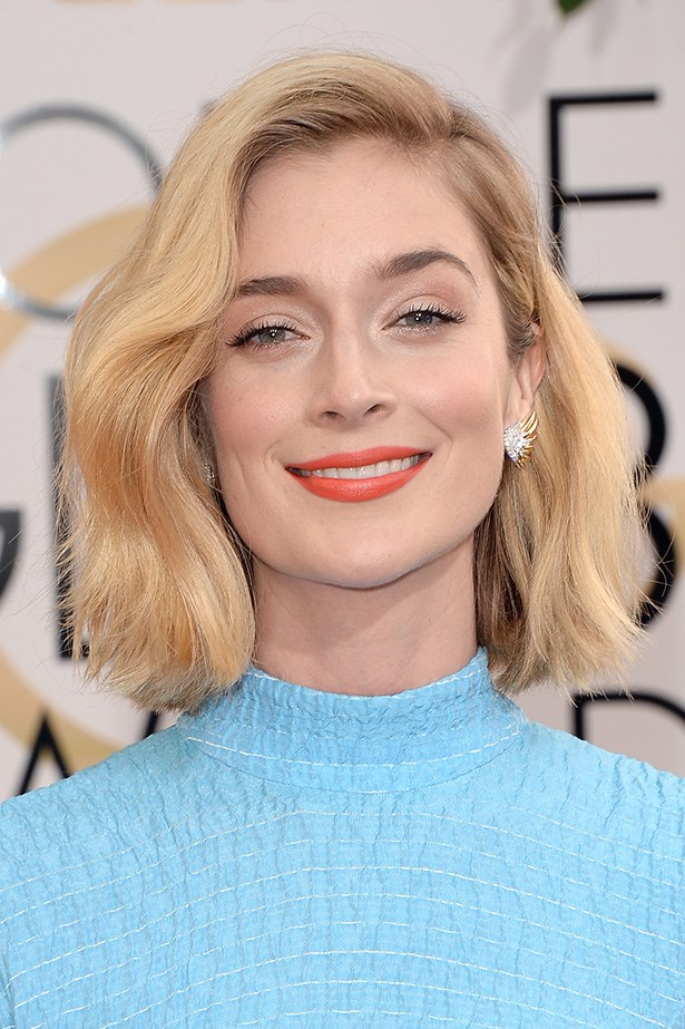 <strong>SIDE PARTS<BR></strong> Caitlin Fitzgerald followed the side-part trend; her crop styled with a  gentle finger-wave.